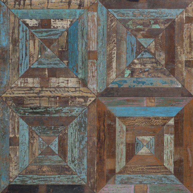 Stella teak-palissandro-acero antico 70x70x1.8 cm