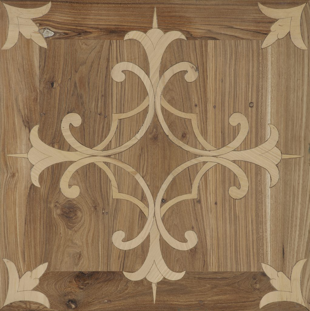 Inlaid antique teak-maple 70x70x1.8 cm
