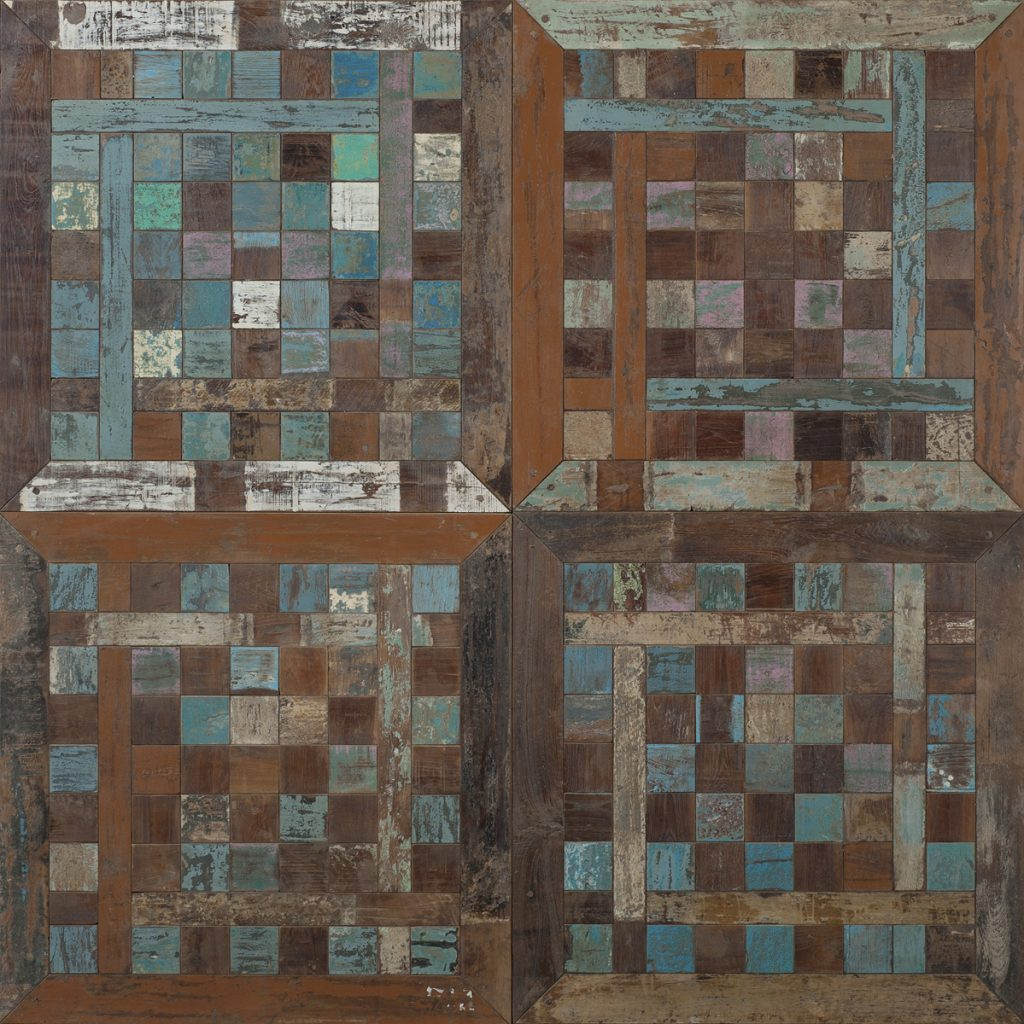 Chessboard tile antique teak / original colours 70x70x1.8 cm
