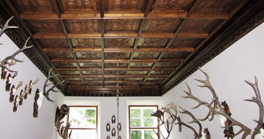 Coffered ceiling handcrafted antique teak