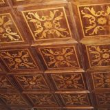 Coffered ceiling antique maple inlay